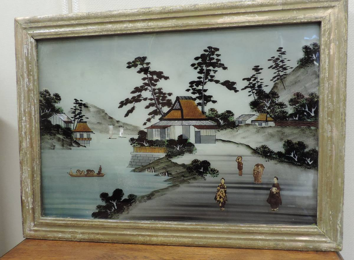 tableau fix sous verre japonais xix eme brocanta. Black Bedroom Furniture Sets. Home Design Ideas